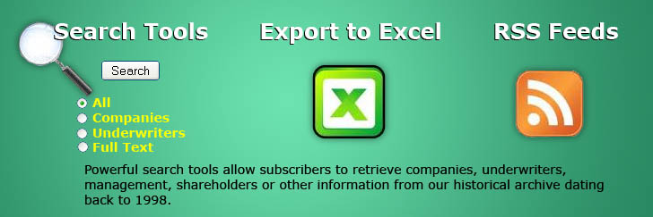 Search Tools, RSS Feeds, Exports to Excel