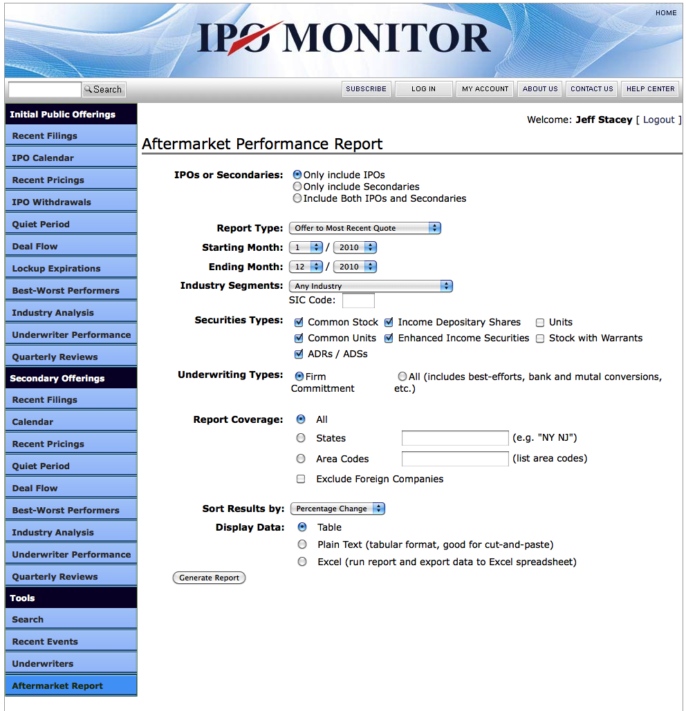 Tools: Aftermarket Performance Report Generator